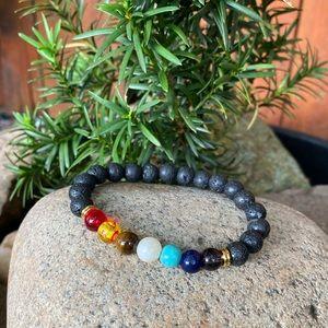 7 Chakra Gemstone Bracelet Lava Stone Crystal Reik